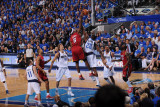 Miami Heat v Dallas Mavericks - Game Three, Dallas, TX -June 5: LeBron James and Ian Mahinmi Photographic Print by Andrew Bernstein