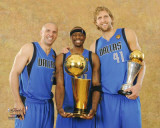 Dallas Mavericks - Jason Terry, Jason Kidd, &amp; Dirk Nowitzki with the MVP &amp; Championship Trophies Photo