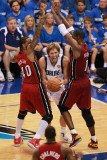 Miami Heat v Dallas Mavericks - Game Three, Dallas, TX -June 5: Dirk Nowitzki, Udonis Haslem and Ch Photographic Print by Victor Baldizon