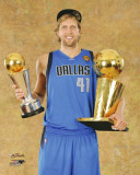 Dallas Mavericks - Dirk Nowitzki with MVP &amp; Championship Trophies Photo