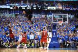Miami Heat v Dallas Mavericks - Game Three, Dallas, TX -June 5: Chris Bosh and Dirk Nowitzki Photographic Print by Garrett Ellwood