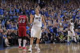 Miami Heat v Dallas Mavericks - Game Three, Dallas, TX -June 5: Dirk Nowitzki and Udonis Haslem Photographic Print by Glenn James