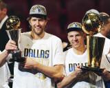 Dallas Mavericks - Jason Kidd &amp; Dirk Nowitzki with the MVP &amp; Championship Trophies Photo