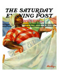 """Rain on Laundry Day,"" Saturday Evening Post Cover, June 15, 1940 Giclee Print by Mariam Troop"