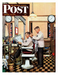 """Barber Getting Haircut,"" Saturday Evening Post Cover, January 26, 1946 Giclée-Druck von Stevan Dohanos"