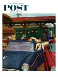 """Cramped Parking,"" Saturday Evening Post Cover, March 5, 1960 Giclee Print by Richard Sargent"