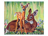 """Doe and Fawn in Forest,"" June 1, 1940 Giclee Print by Paul Bransom"