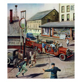 """Small Town Fire Company,"" May 14, 1949 Giclee Print by Stevan Dohanos"