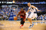 Miami Heat v Dallas Mavericks - Game Three, Dallas, TX -June 5: Dwyane Wade and Jason Kidd Photographic Print by Garrett Ellwood