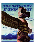 """Totem Pole,"" Saturday Evening Post Cover, January 31, 1942 Giclee Print by John Clymer"