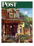 """Birdhouse Builder,"" Saturday Evening Post Cover, May 8, 1948 Giclee Print by John Falter"