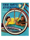 """Bicycle Ride,"" Saturday Evening Post Cover, August 16, 1941 Lámina giclée por Douglas Crockwell"