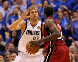 Miami Heat v Dallas Mavericks - Game Four, Dallas, TX -June 7: Dirk Nowitzki and Joel Anthony Photographic Print by Ronald Martinez