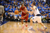 Miami Heat v Dallas Mavericks - Game Three, Dallas, TX -June 5: Mario Chalmers and Jose Barea Photographic Print by Garrett Ellwood