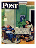 """After Dinner at the Farm,"" Saturday Evening Post Cover, March 27, 1948 Giclee Print by John Falter"