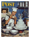 """Icing the Wedding Cake,"" Saturday Evening Post Cover, June 16, 1945 Giclee Print by Stevan Dohanos"