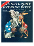&quot;Democrats vs. Republicans,&quot; Saturday Evening Post Cover, July/Aug 1980 Giclee Print by BB Sams
