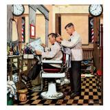 """Barber Getting Haircut,"" January 26, 1946 Reproduction procédé giclée par Stevan Dohanos"