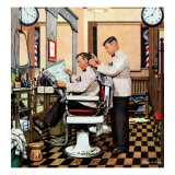 """Barber Getting Haircut,"" January 26, 1946 Giclee Print by Stevan Dohanos"