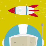 Peek-a-Boo Heroes: Astronaut Kunstdrucke von Yuko Lau
