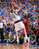 Miami Heat v Dallas Mavericks - Game Three, Dallas, TX -June 5: Dirk Nowitzki and Udonis Haslem Photographic Print by Andrew Bernstein