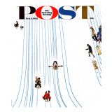 """Sledding Designs in the Snow,"" Saturday Evening Post Cover, February 3, 1962 Giclee Print by John Falter"