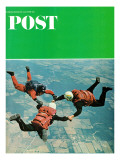"""Sky Divers,"" Saturday Evening Post Cover, June 18, 1966 Giclee Print by Jerry Irwin"