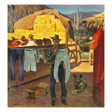 """Cowboy Hanging Out His Laundry,"" March 1, 1947 Giclee Print by John Falter"