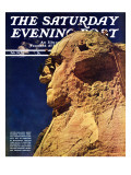 """Repairing Mr. Rushmore,"" Saturday Evening Post Cover, February 24, 1940 Giclee Print by Lincoln Borglum"