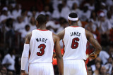 Dallas Mavericks v Miami Heat - Game Six, Miami, FL - June 12: LeBron James and Dwyane Wade Photographic Print by Garrett Ellwood