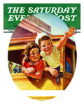 """""""Kids Riding Trolley,"""" Saturday Evening Post Cover, July 20, 1940 Giclee Print by Frances Tipton Hunter"""