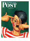 &quot;Boy Mimicking Hitler,&quot; Saturday Evening Post Cover, January 23, 1943 Giclee Print by Mat Kauten