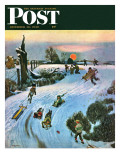"""Sledding by Sunset,"" Saturday Evening Post Cover, December 18, 1948 Giclee Print by John Falter"