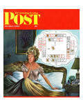 """Bridge Hand Disturbs Sleep,"" Saturday Evening Post Cover, December 1, 1962 Giclee Print by Constantin Alajalov"