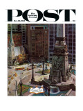 """Monument Circle,"" Saturday Evening Post Cover, October 28, 1961 Giclee Print by John Falter"