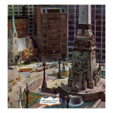 """Monument Circle,"" October 28, 1961 Giclee Print by John Falter"