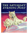 """White Wolves,"" Saturday Evening Post Cover, March 8, 1941 Giclee Print by Jack Murray"