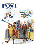"""New Skier,"" Saturday Evening Post Cover, March 4, 1961 Giclee Print by Constantin Alajalov"