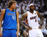 Dallas Mavericks v Miami Heat - Game Six, Miami, FL - June 12: LeBron James and Dirk Nowitzki Photographic Print by Garrett Ellwood