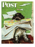 """Butch and the Sunday Paper,"" Saturday Evening Post Cover, May 31, 1947 Giclee Print by Albert Staehle"