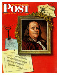 Benjamin Franklin, Saturday Evening Post, Giclee Print