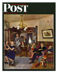 """Thanksgiving Flute Performance,"" Saturday Evening Post Cover, November 30, 1946 Giclee Print by John Falter"