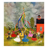"""Schoolyard Maypole Dance,"" May 4, 1946 Giclee Print by Doris Lee"
