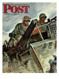 """Corp of Engineers,"" Saturday Evening Post Cover, October 28, 1944 Gicléetryck av Mead Schaeffer"