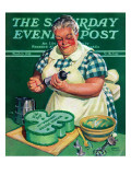 """St. Paddy Cake for Policemen,"" Saturday Evening Post Cover, March 16, 1940 Giclee Print by Albert W. Hampson"