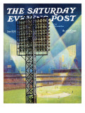 """Baseball Stadium at Night,"" Saturday Evening Post Cover, June 28, 1941 Giclee Print by Roy Hilton"
