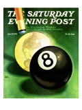 """World as Cue Ball,"" Saturday Evening Post Cover, January 25, 1941 Giclee Print by Emmett Watson"