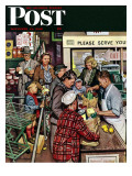 """Grocery LIne,"" Saturday Evening Post Cover, November 13, 1948 Giclee Print by Stevan Dohanos"