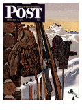 """Ski Equipment Still Life,"" Saturday Evening Post Cover, February 3, 1945 Giclee Print by John Atherton"