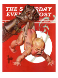"""New Year and Warring Fist,"" Saturday Evening Post Cover, January 4, 1941 Giclee Print by Joseph Christian Leyendecker"